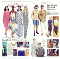 The Epoch Times New York Spring Trends - April 17, 2014 - Jolita Jewellery feature - Maldives statement necklace, made with a dip-dyed silk braid, gradually changing from yellow to light blue, embellished with clear crystal necklace and clear crystal beaded bug