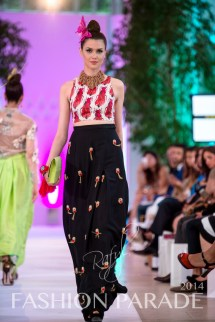 Fashion Parade 2014 - in braided red cuff with silk flower by Jolita Jewellery, Zara Shahjahan clothes