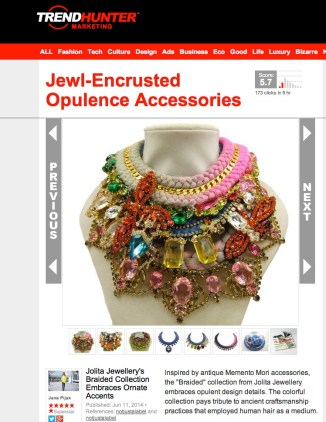 Jolita Jewellery feature in Trendhunter June 2014