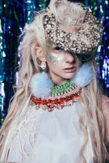 Old Tat Sugarcoated SS15 issue - Virtues of Venus editorial, featuring Jolita Jewellery's luxury pink Czarevna collar, heavily embellished with Swarovski crystals, handmade using couture beading technique
