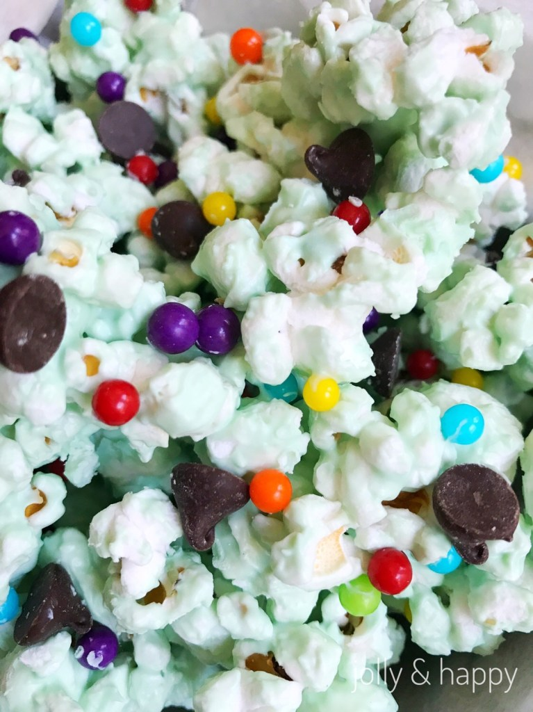 white chocolate mint rainbow popcorn