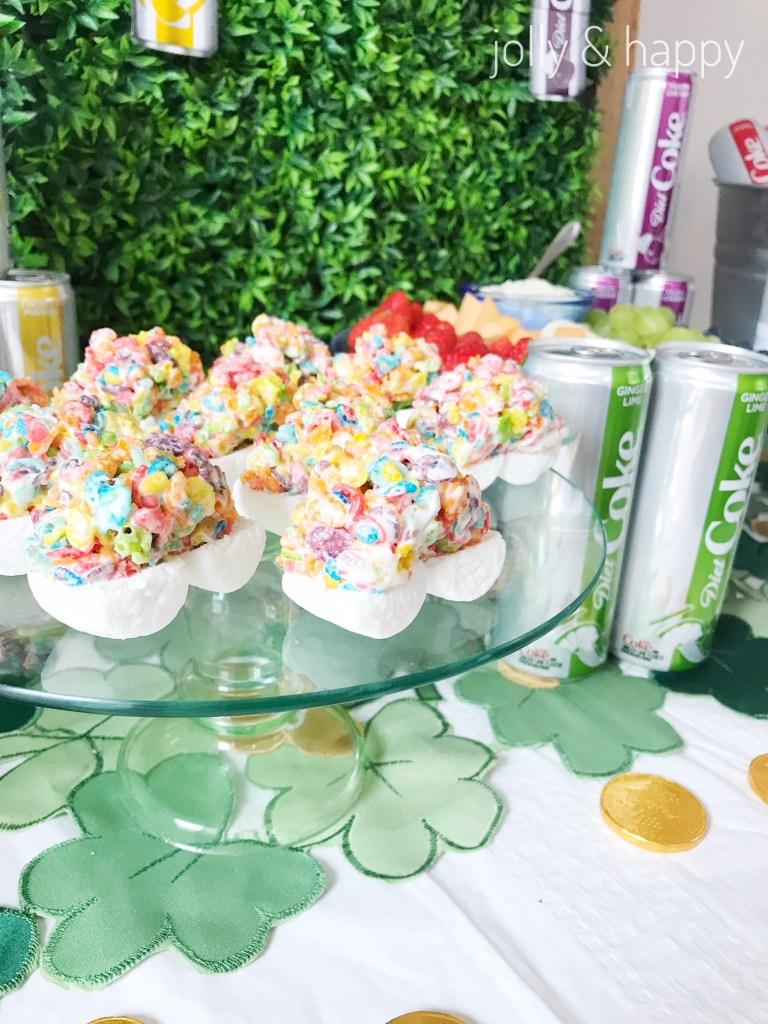 rainbow rice krispie treats st. patrick's day party