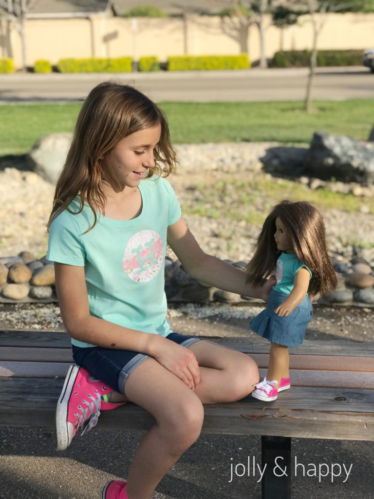 Matching American girl doll shirt tutorial with Cricut Patterned iron on Vinyl