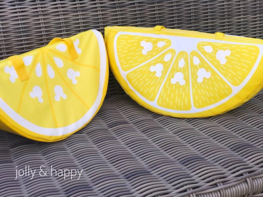 Disney Store Mickey Lemon Wedge Bag next to Knockoff DIY Cooler Bag