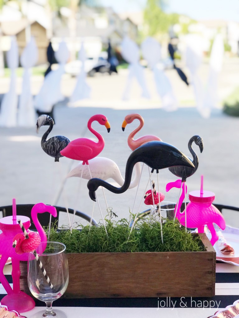 flamingo centerpiece graduation tablescape