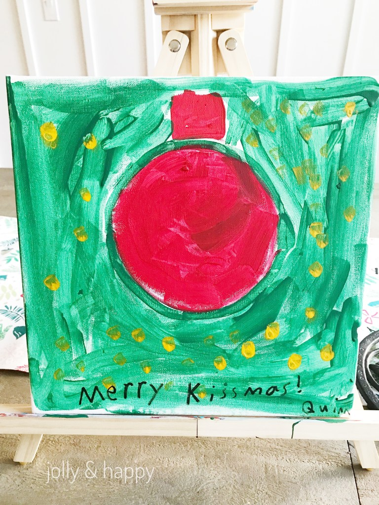 Let your child paint the ornament on the canvas