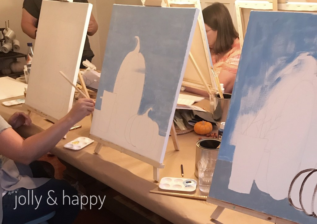 Social Artworking gives detailed instructions on how to paint your fall art
