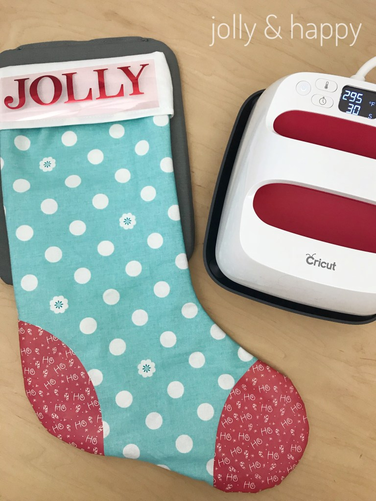 Use the EasyPress to adhere Cricut Iron on material to personalize
