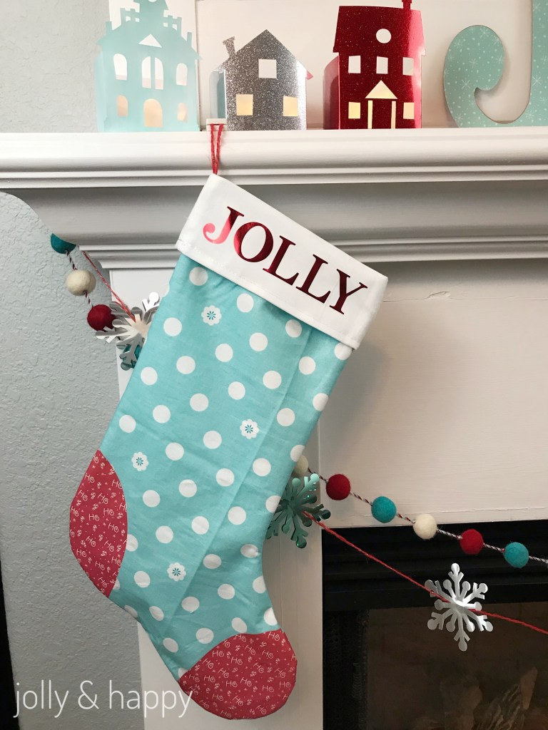 Red and Blue themed Christmas Stocking