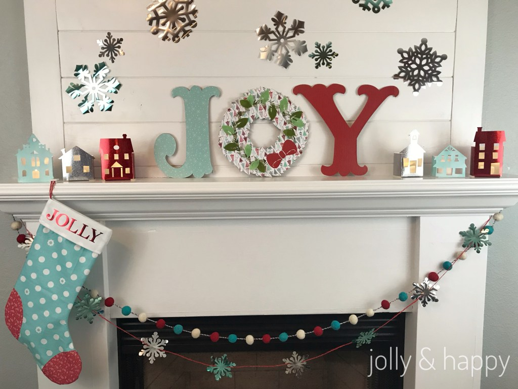 Red and blue Christmas mantle with Cricut Maker