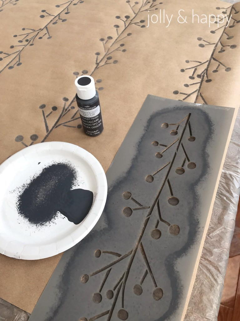 Paint with DecoArt stencils on brown paper