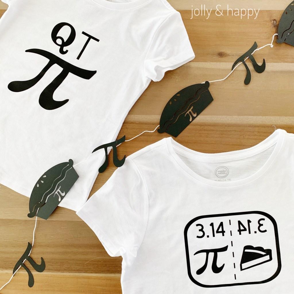 Pi day diy banner and t shirts