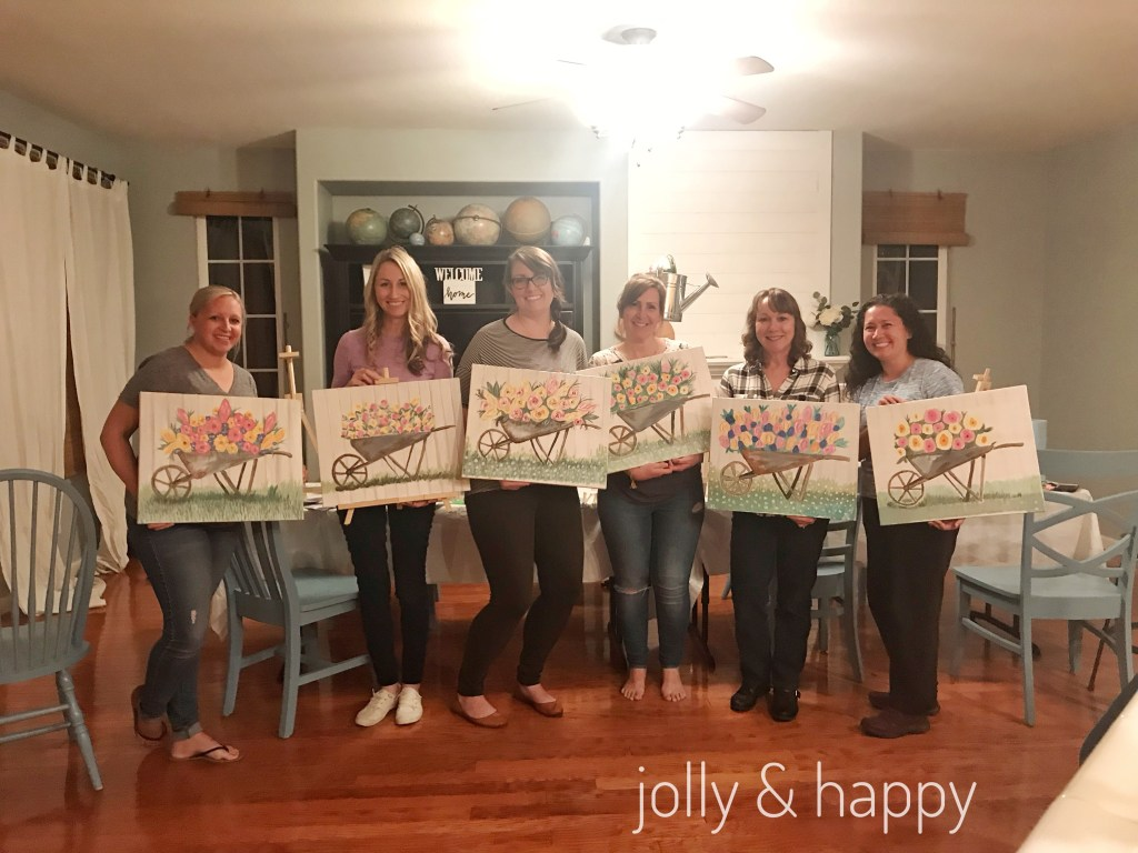 at home ladies paint party social artworking