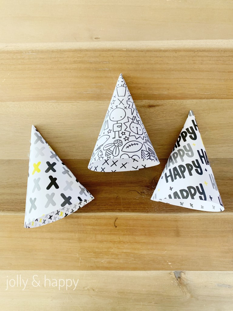 Party Hats made with Rad & Happy paper from Cricut