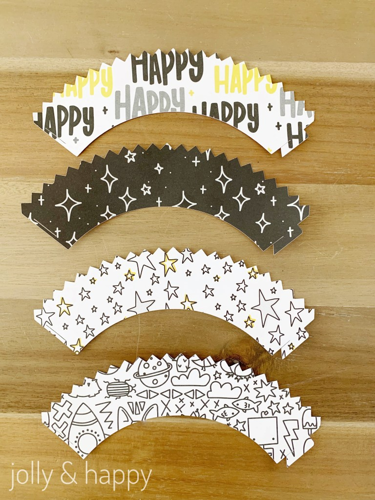 Cupcake wrappers made with Cricut and rad & Happy