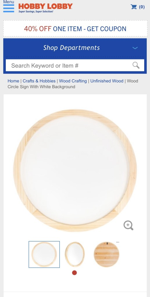 White wood round from hobby lobby