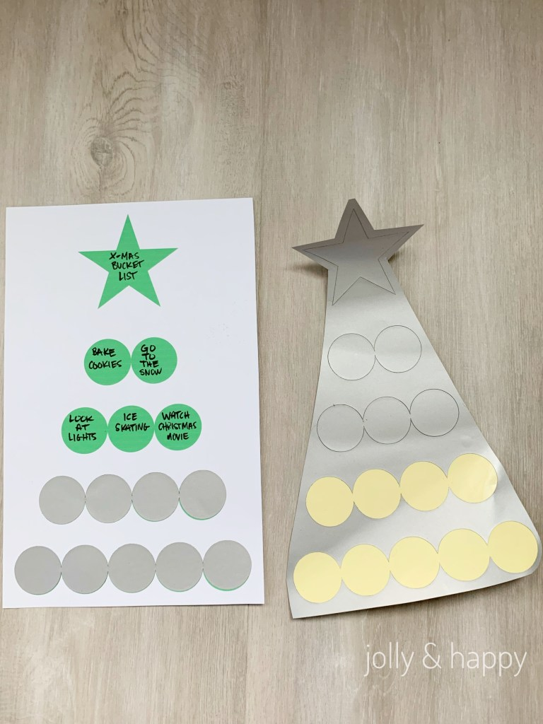 peel and stick scratch off stickers to Christmas tree
