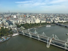 View of the Hungerford Bridge (I looked that name up hopefully it's right)