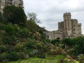 Gardens in Windsor Castle (previously a moat!)