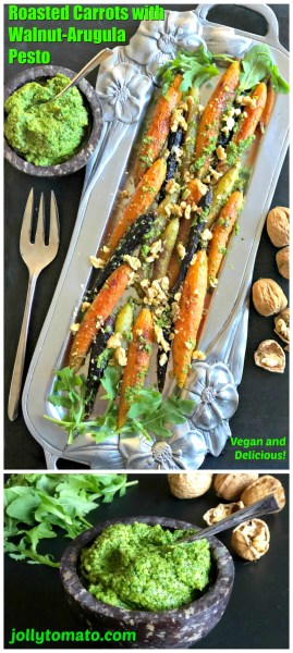 These roasted carrots are topped with a vegan walnut-arugula pesto for a hearty main or side dish.