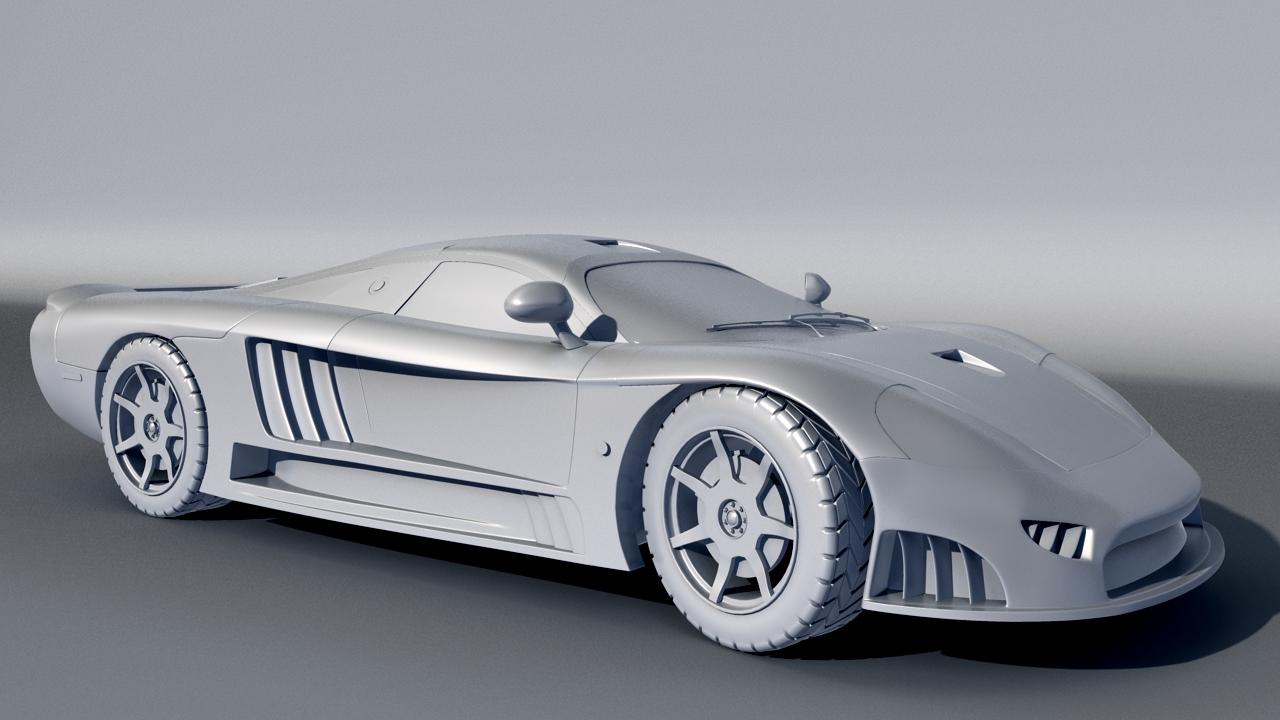 Sports car modelled in Maya