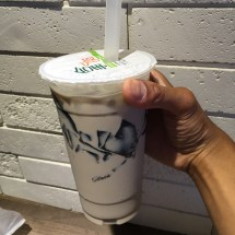 Milk tea with grass jelly