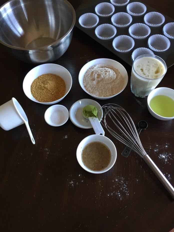 Preparing the green tea cupcakes