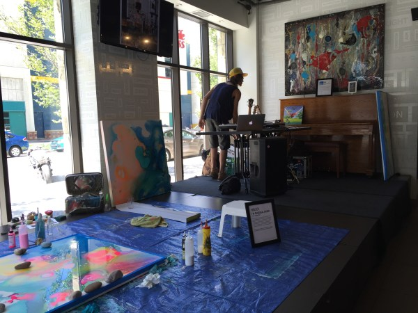 Arts stage at Cafe Blanca.