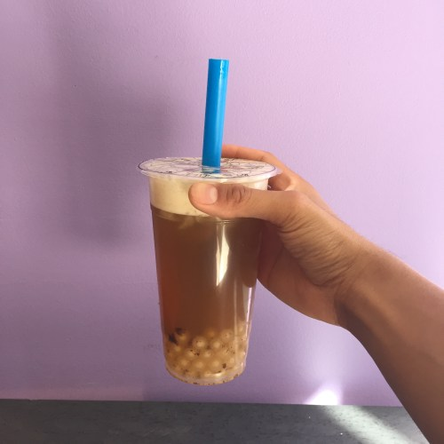 Taiwanese plum tea with pearls.