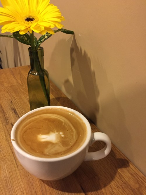 Soy latte ($5).
