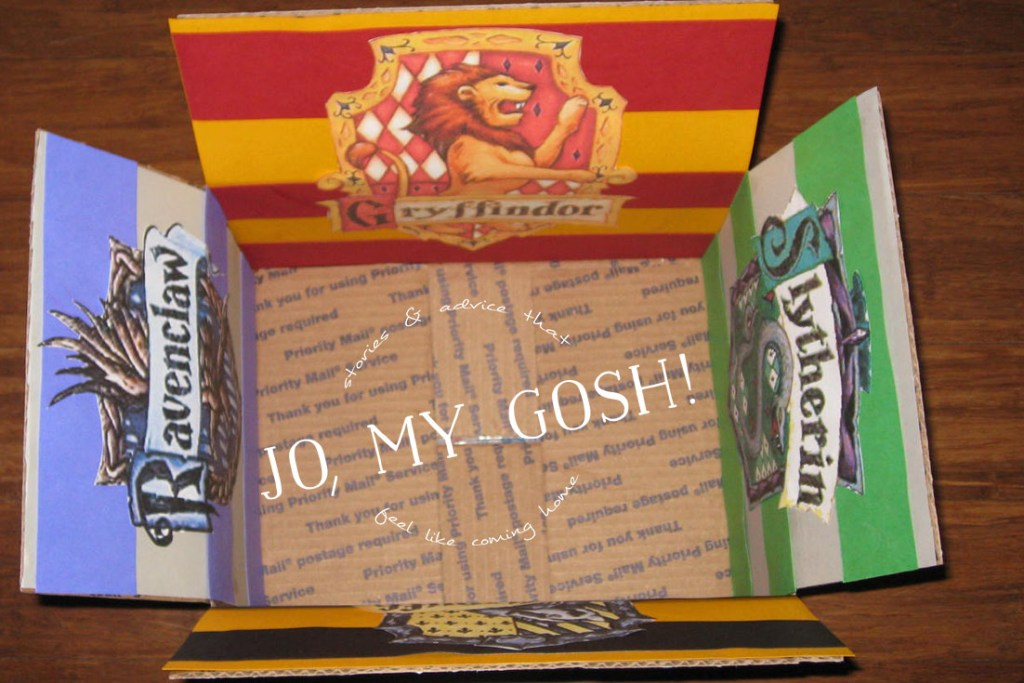 A Harry Potter themed care package with all of the houses of Hogwarts-- Hufflepuff, Ravenclaw, Gryffindor, and Slytherin. Comes with ideas of themed snacks and gifts, too. (2)