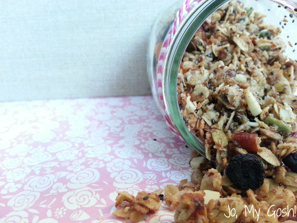Fiber- and protein-rich granola-- use as a cereal, in yogurt, or by itself as a snack. Includes flax, quinoa, pepitas, and other superfoods.