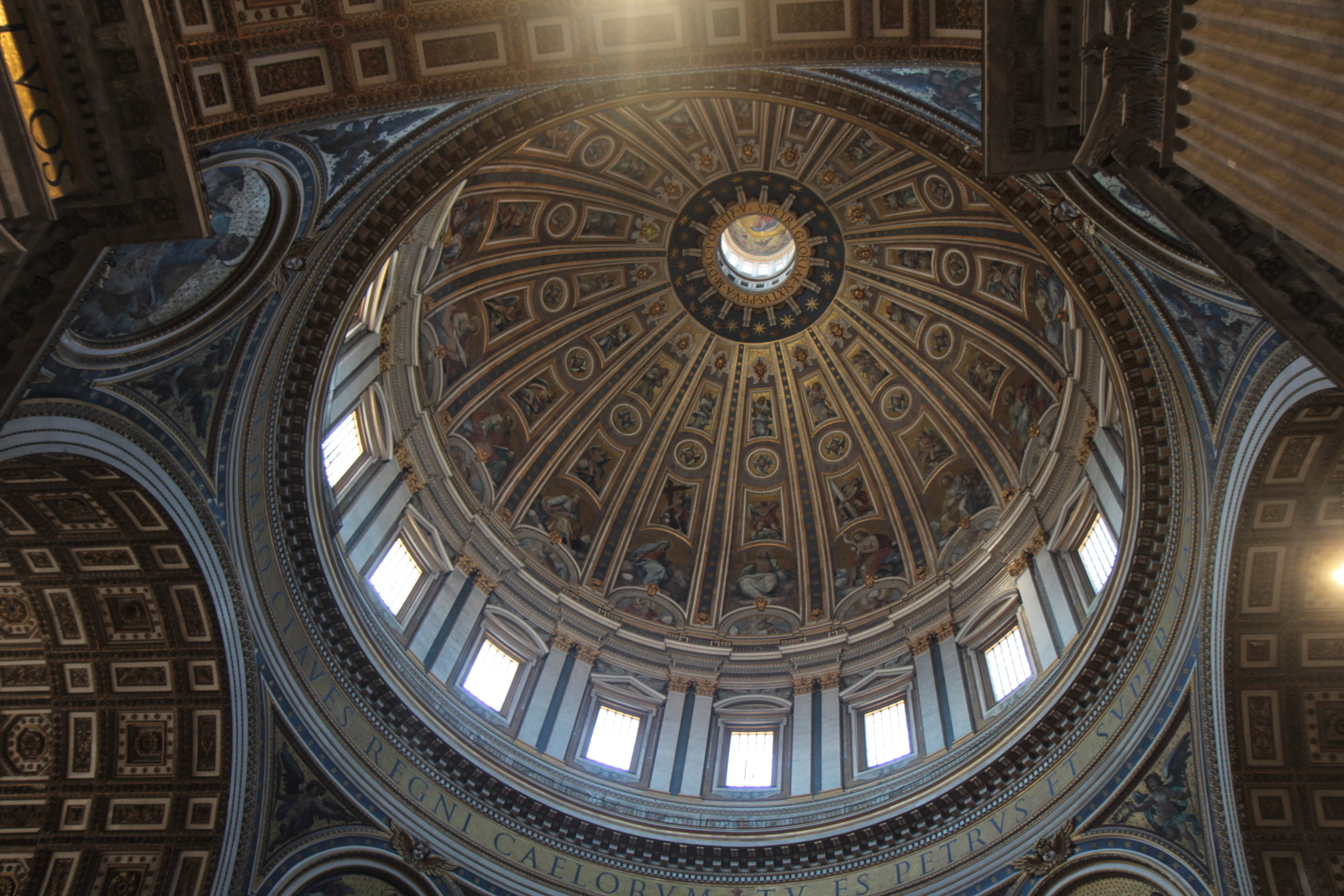 The interior of the dome of St. Peter's Basilica.