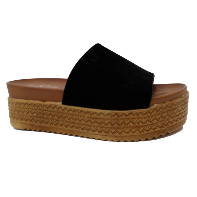 platform black sandal for women