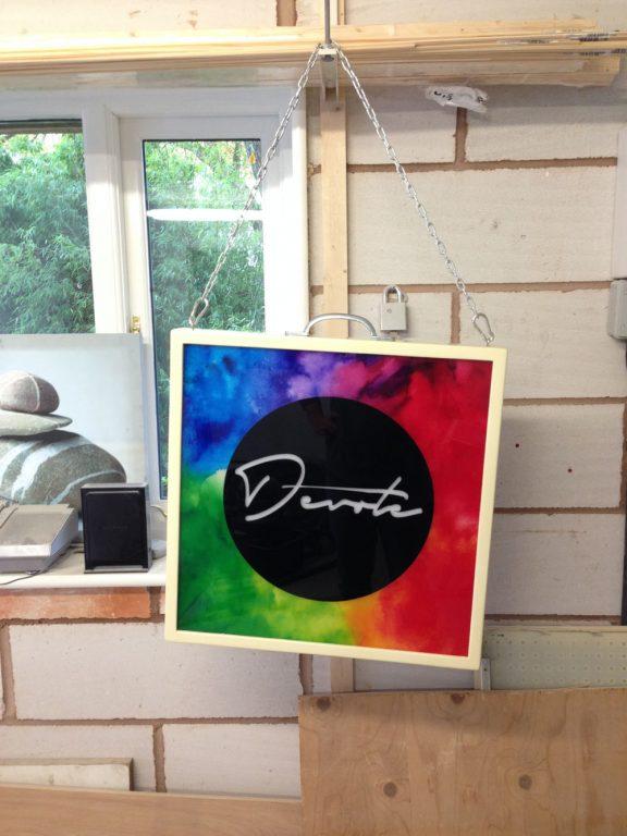 lightbox-devote - custom wood framed light box design