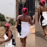 Blessing Okoro goes into the street in just her towel celebrating 500K followers on Instagram (video)