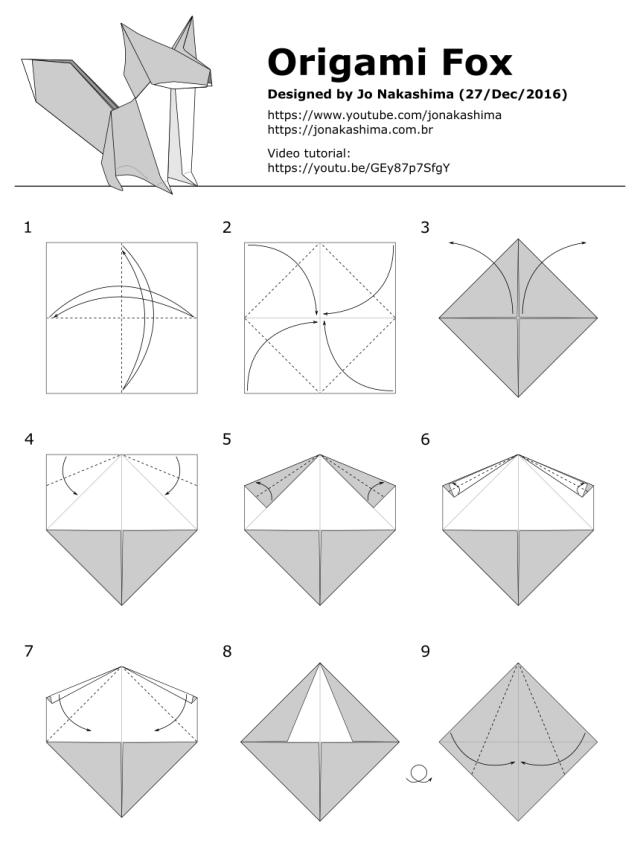 How to make a origami fox - Origami Tutorial | Origami tutorial ... | 849x640