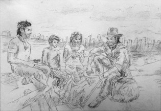 Roland, Susannah, Jake, and Eddie outside the City of Lud