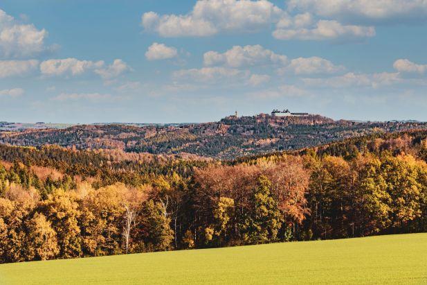 Blick über die Wälder zu Schloss Augustusburg