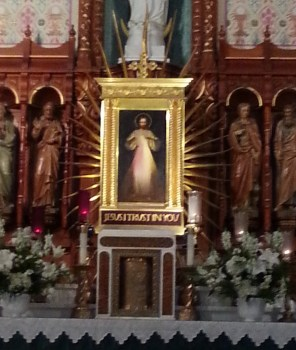 The image of the Divine Mercy hangs above the tabernacle in the National Shrine of the Divine Mercy in Stockbridge, Mass., on Sunday, June 26, 2016.