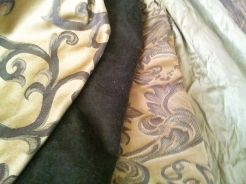 The colors don't photograph very true - the two brocades are the same colorway, and the velvet is a deep rich forest green.