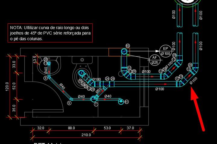 Detalhe em DWG da instalação de esgoto de um banheiro