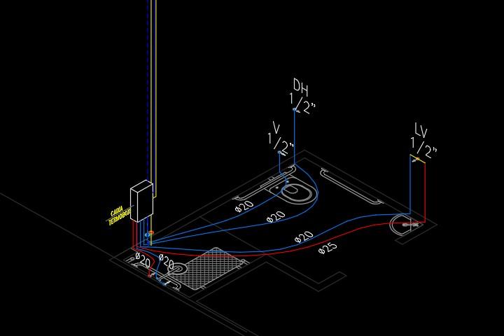 Detalhe do sistema PEX de água quente e fria