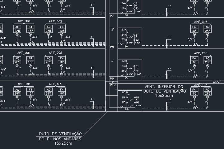 esquema vertical de um projeto predial de gás
