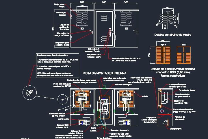 Caixa elétrica com vista frontal e de montagem