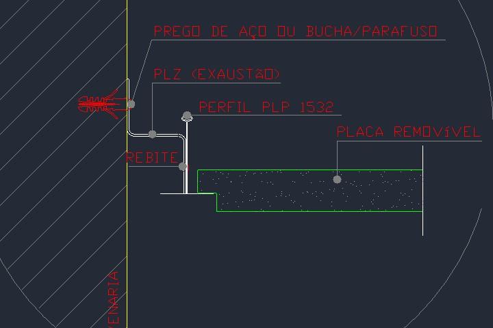 Detalhe de fixação de forro de gesso em alvenaria