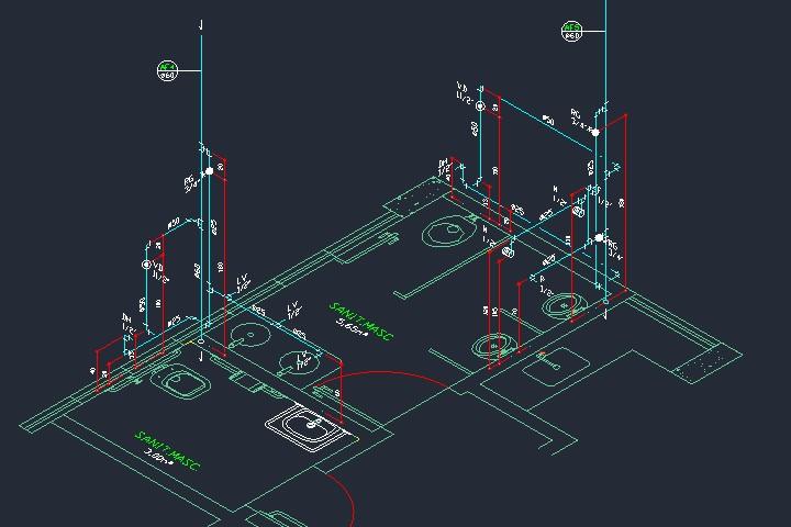 Isométrico de um projeto hidráulico em dwg