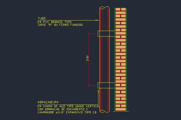 Detalhe de fixação vertical de tubos