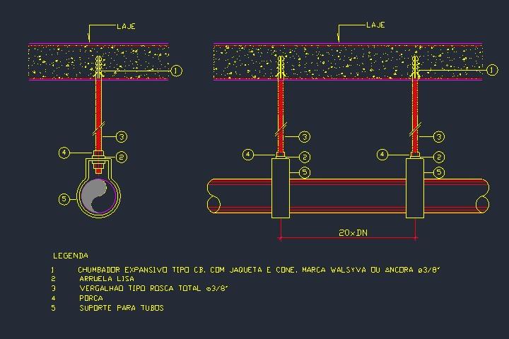 Detalhamento típico de suporte para tubos