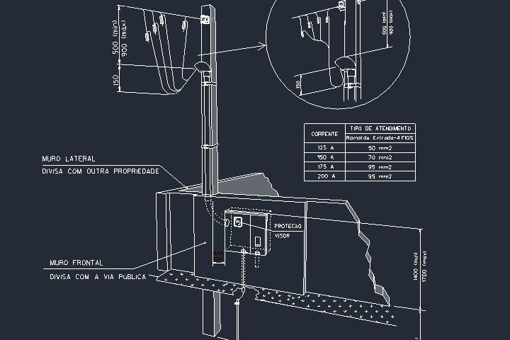 Poste padrão Copel com medição em muro